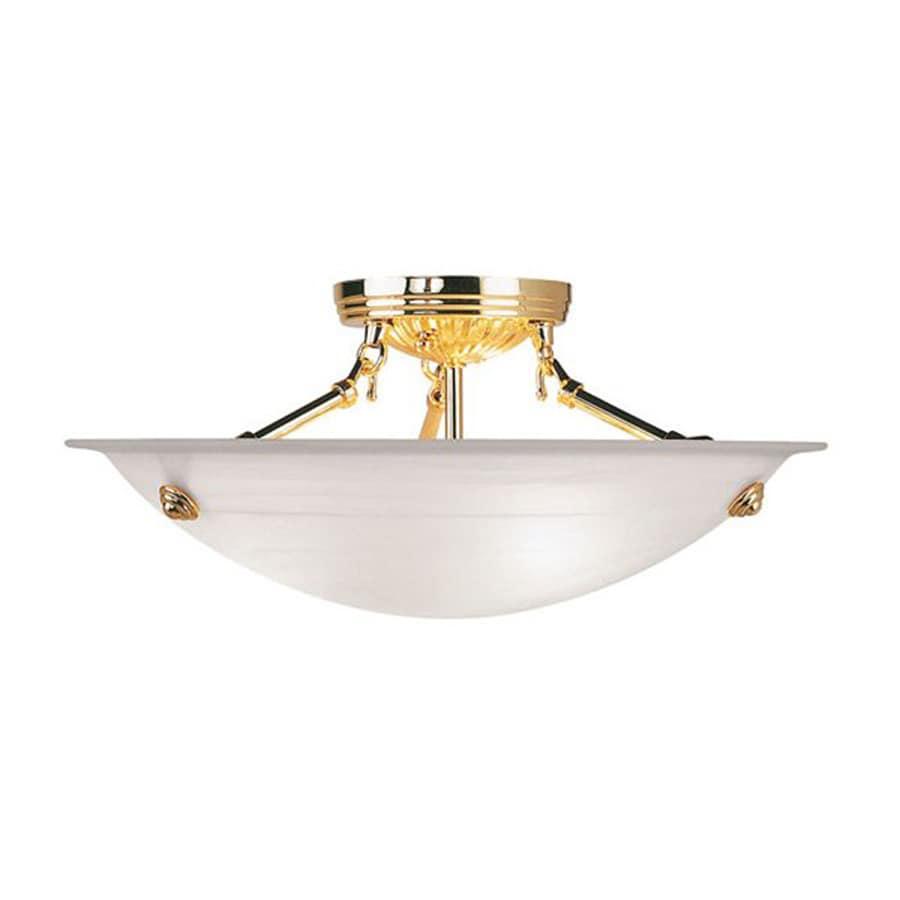 Livex Lighting Oasis 16-in W Polished Brass Alabaster Glass Semi-Flush Mount Light