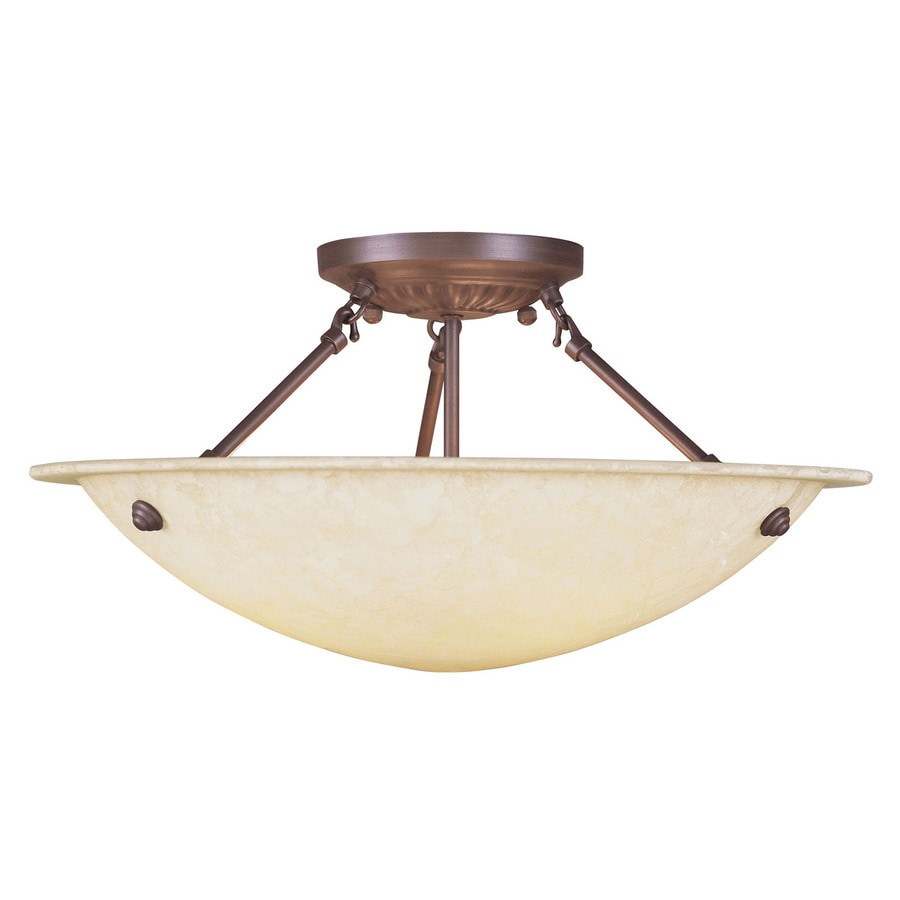 Livex Lighting Oasis 20-in W Imperial Bronze Alabaster Glass Semi-Flush Mount Light