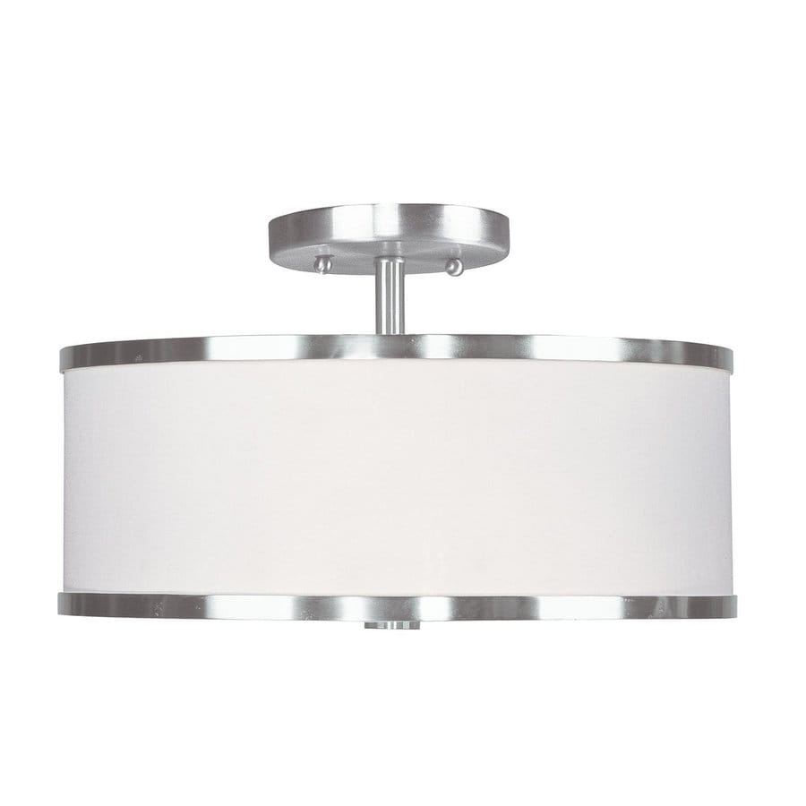 Livex Lighting Park Ridge 13-in W Brushed Nickel Semi-Flush Mount Light