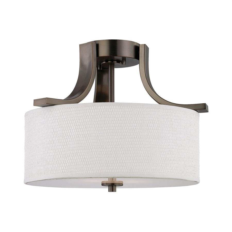 Thomas Lighting Pendenza 15.25-in W Oil Bronze Fabric Semi-Flush Mount Light