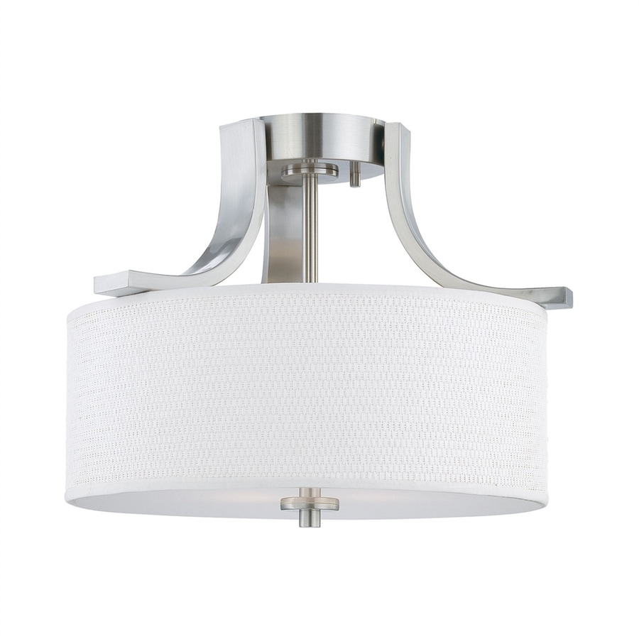 Thomas Lighting Pendenza 15.25-in W Brushed Nickel Fabric Semi-Flush Mount Light