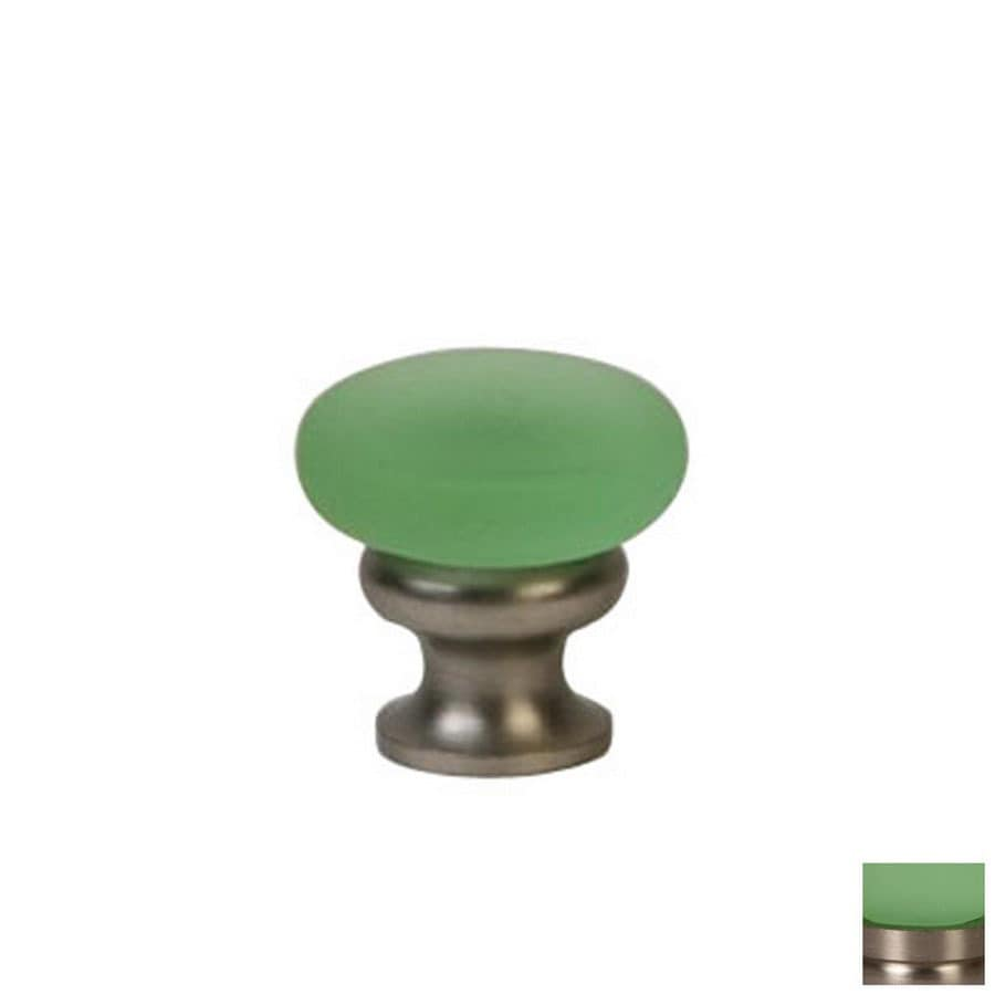 Lew's Hardware Mushroom Glass Frosted Green/Brushed Nickel Round Cabinet Knob