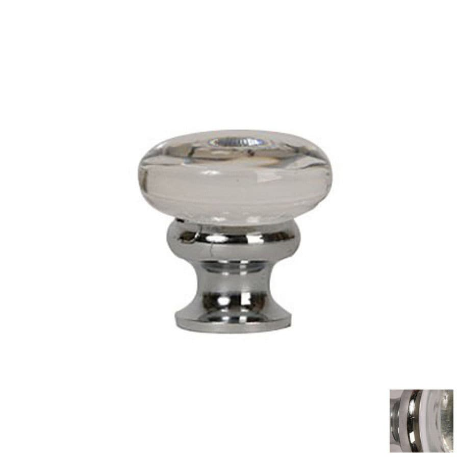 Lew's Hardware Mushroom Glass Polished Chrome Round Cabinet Knob