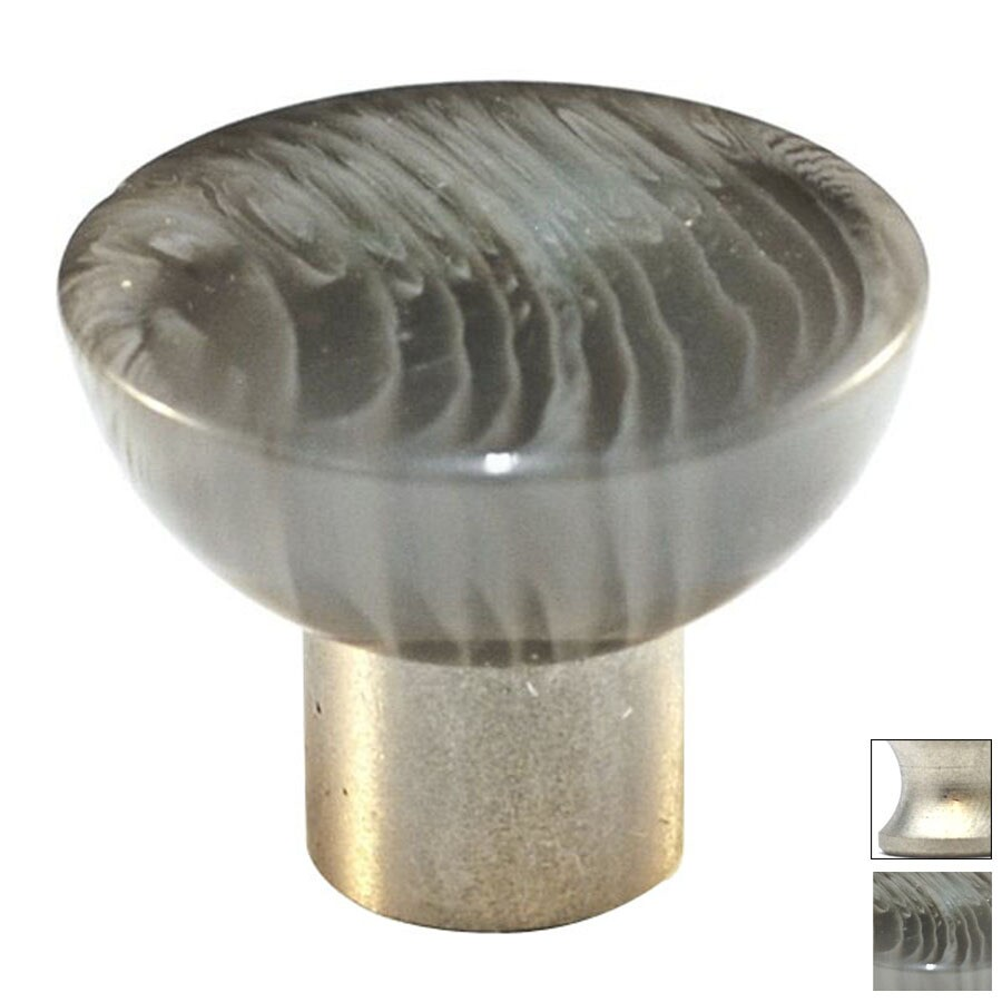 Cal Crystal Satin Nickel Athens Round Cabinet Knob