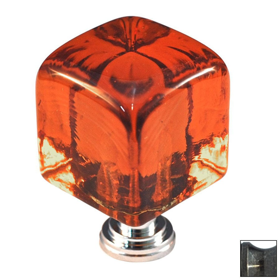 Cal Crystal Antique Brass Artx Square Cabinet Knob