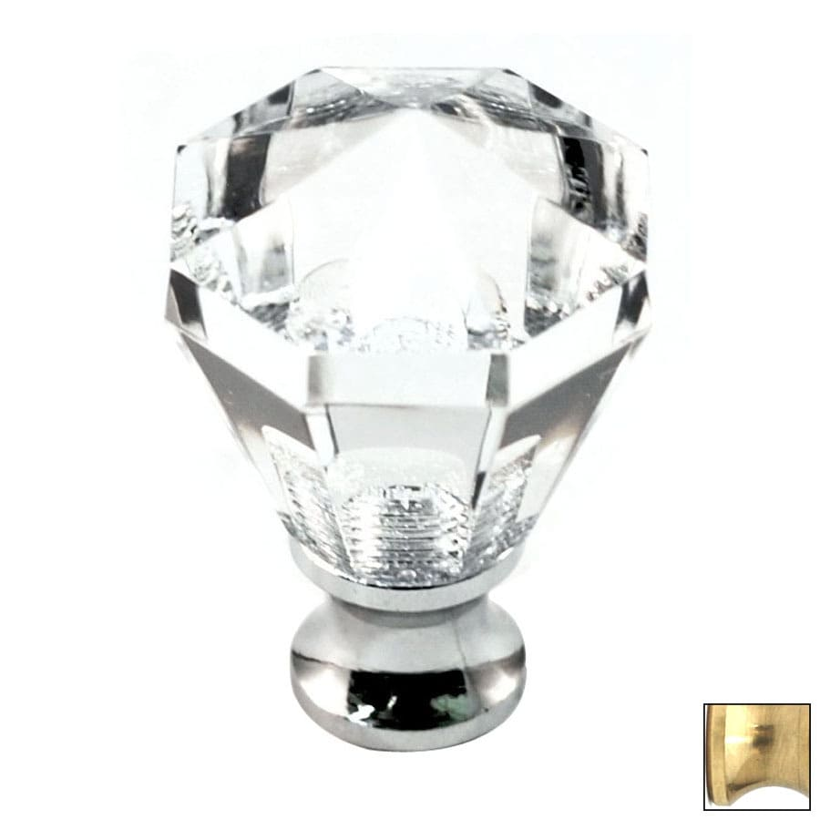 Cal Crystal Polished Brass Crystal Octangular Cabinet Knob