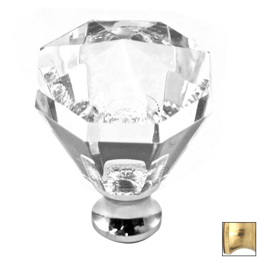 Cal Crystal Polished Brass Crystal Octangular Cabinet Knob