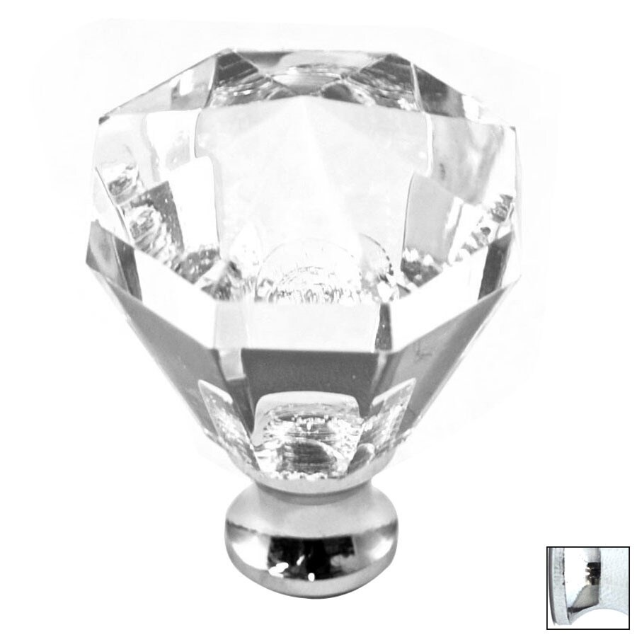 Cal Crystal Polished Chrome Crystal Octangular Cabinet Knob