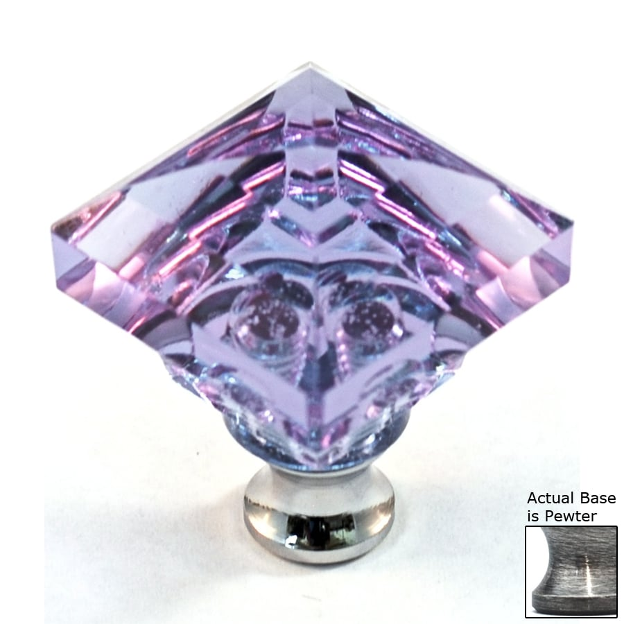 Cal Crystal Lavender Crystal Pewter Square Cabinet Knob