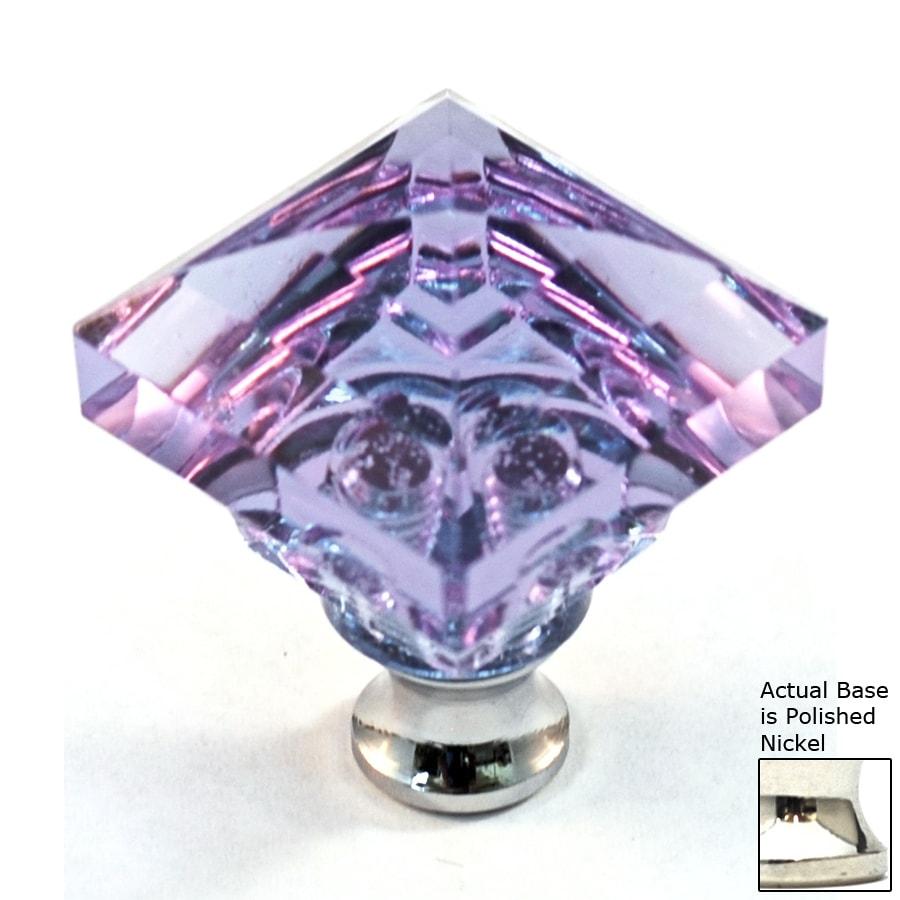 Cal Crystal Polished Nickel Crystal Square Cabinet Knob