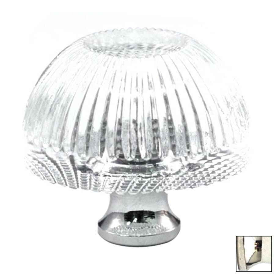 Cal Crystal Polished Nickel Crystal Mushroom Cabinet Knob