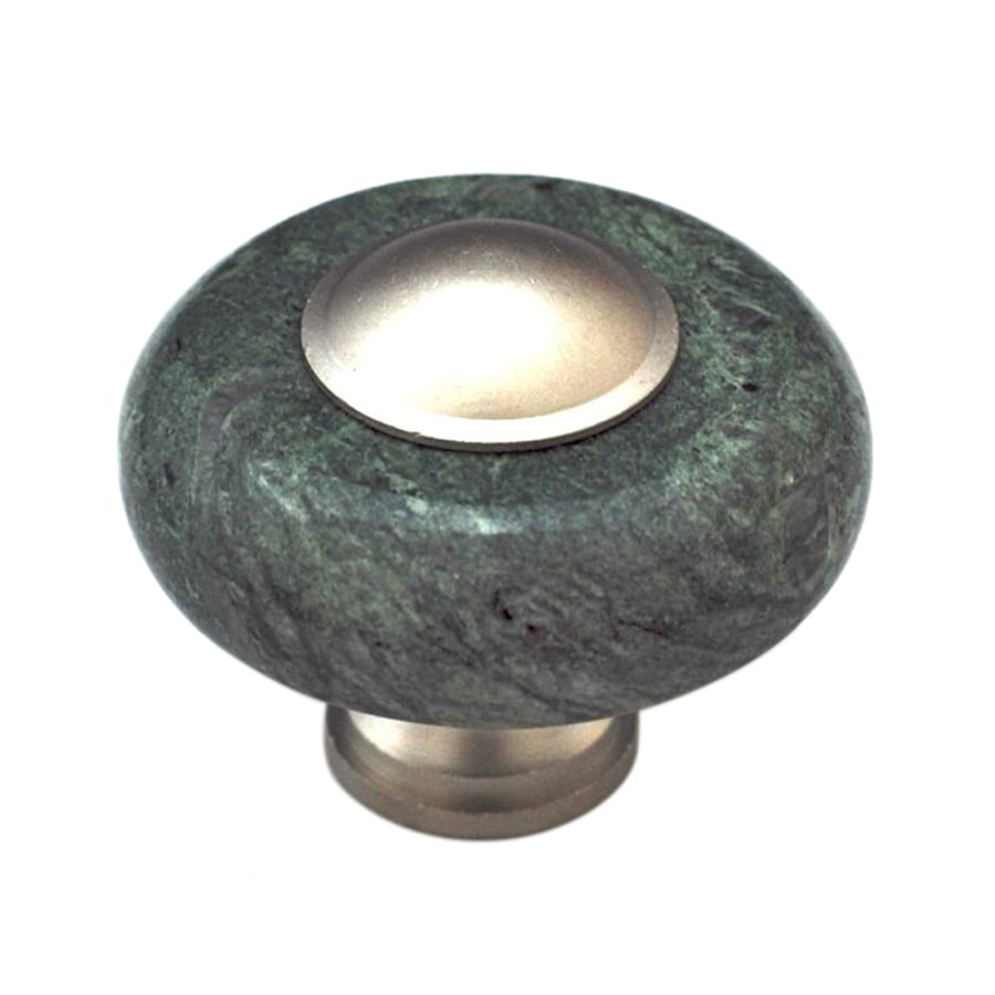 Cal Crystal Green Marble Satin Nickel Round Cabinet Knob