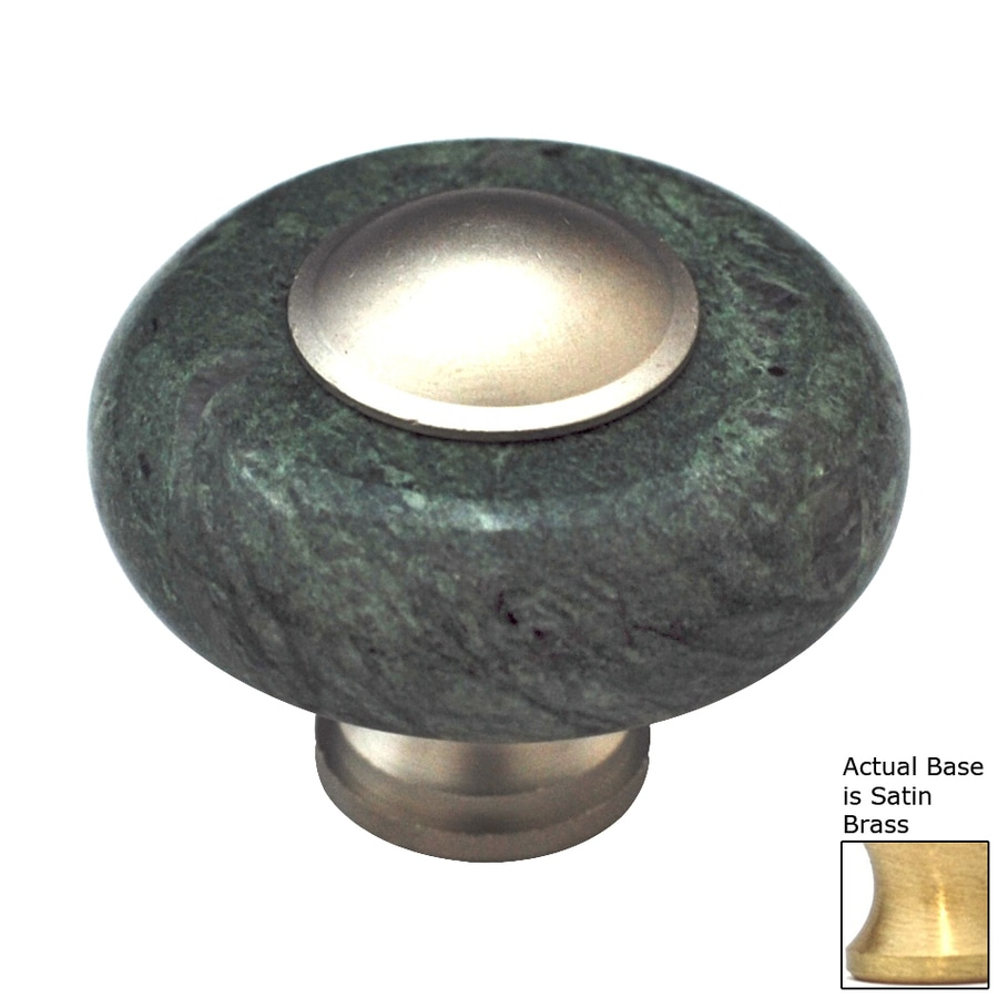 Cal Crystal Green Marble Satin Brass Round Cabinet Knob