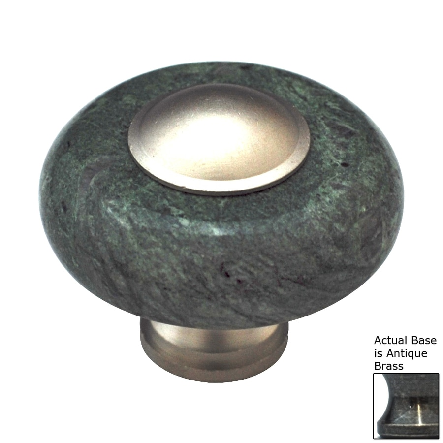 Cal Crystal Green Marble Antique Brass Round Cabinet Knob