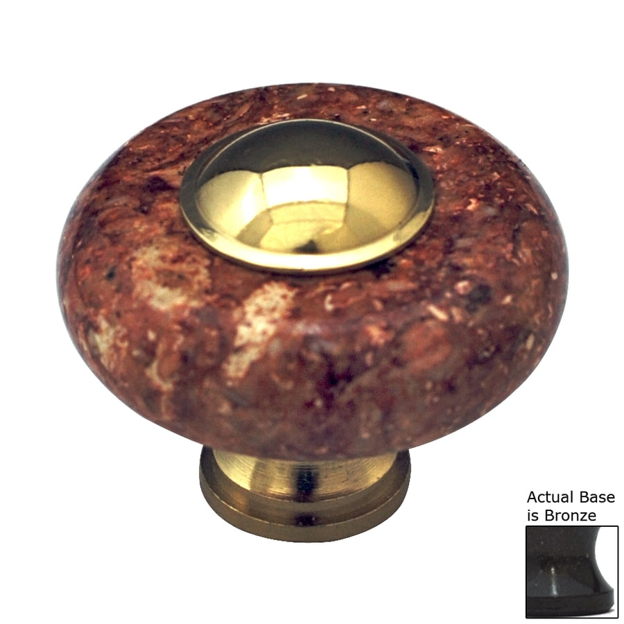 Cal Crystal Red Marble Bronze Round Cabinet Knob