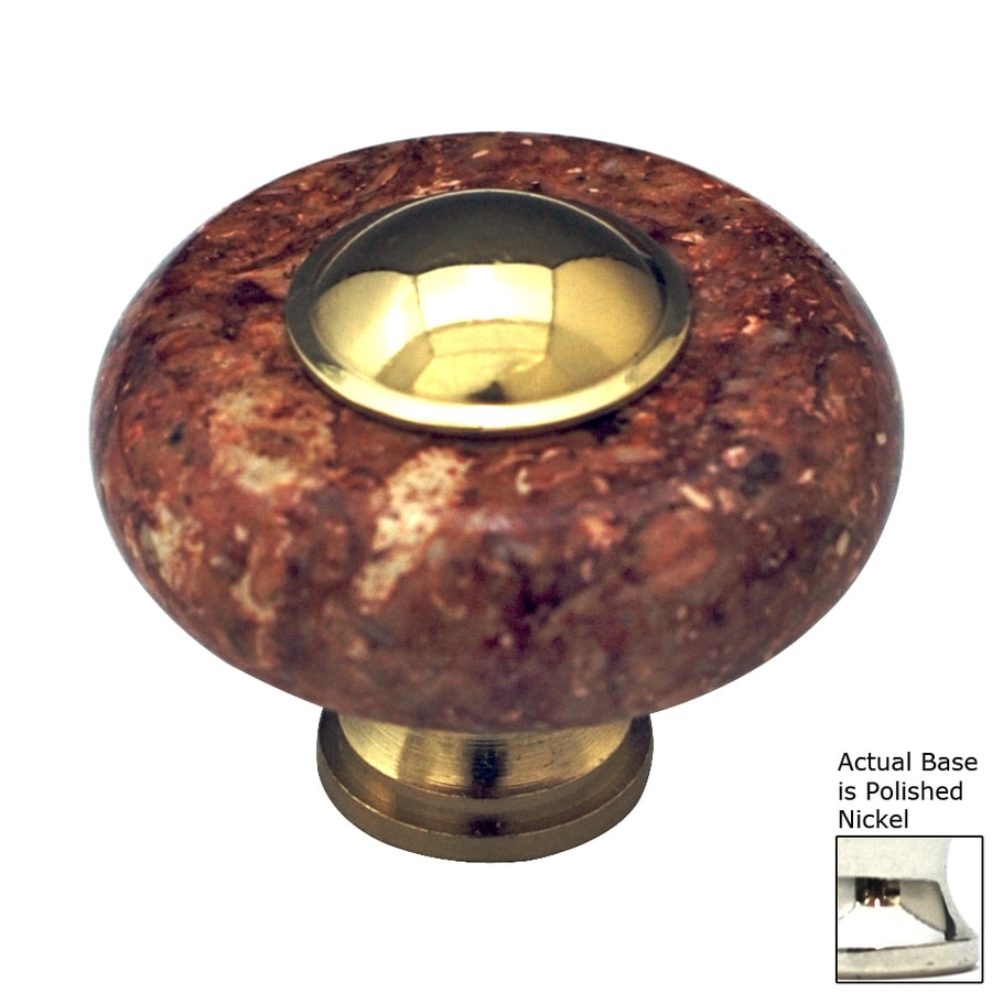 Cal Crystal Red Marble Polished Nickel Round Cabinet Knob
