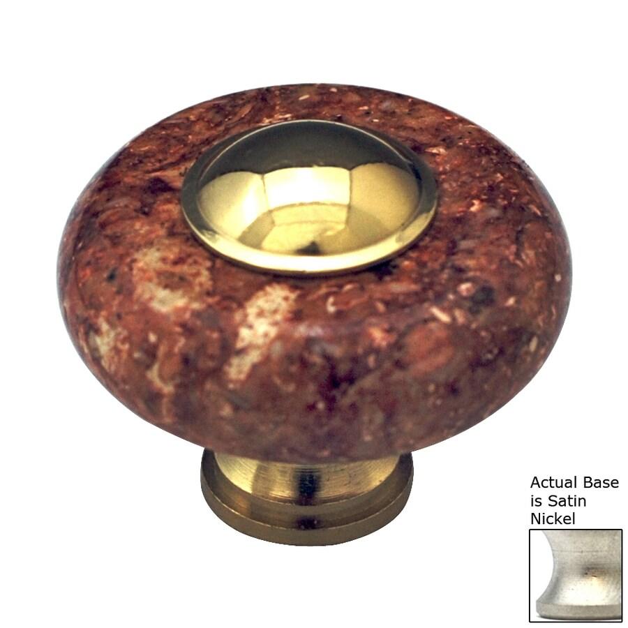 Cal Crystal Satin Nickel Marble Round Cabinet Knob