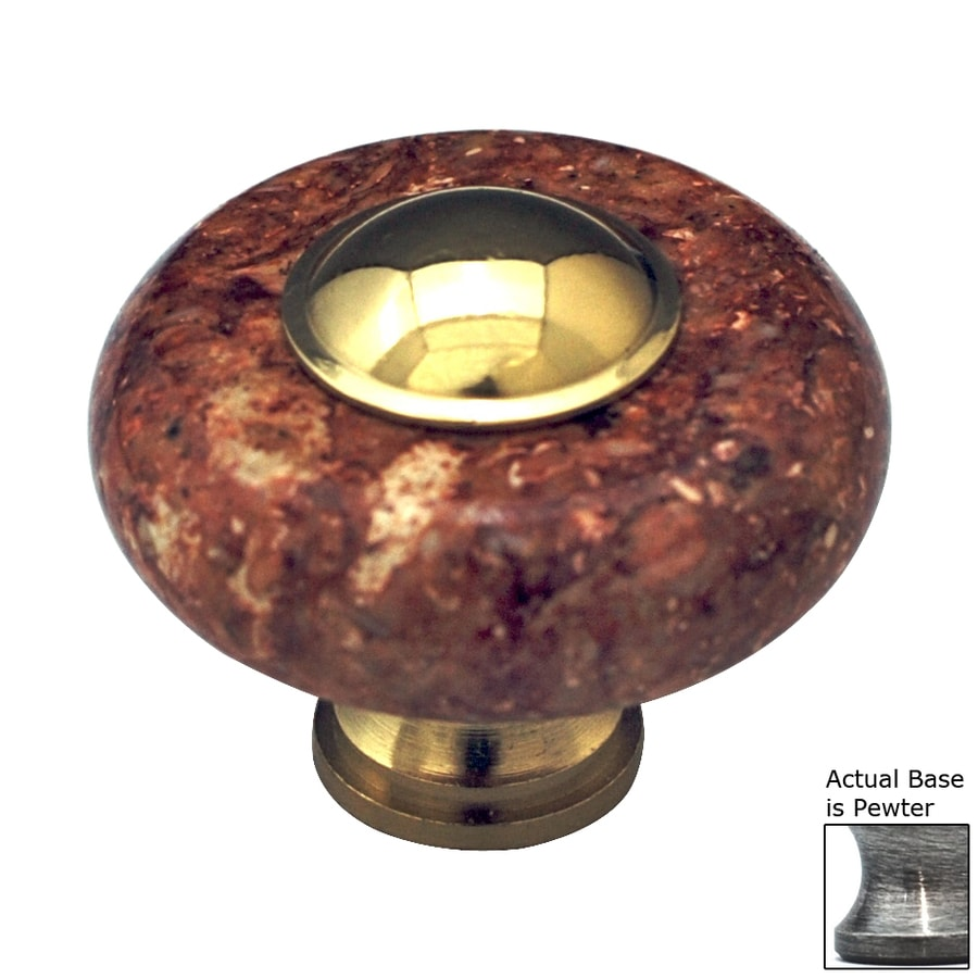 Cal Crystal Red Marble Pewter Round Cabinet Knob