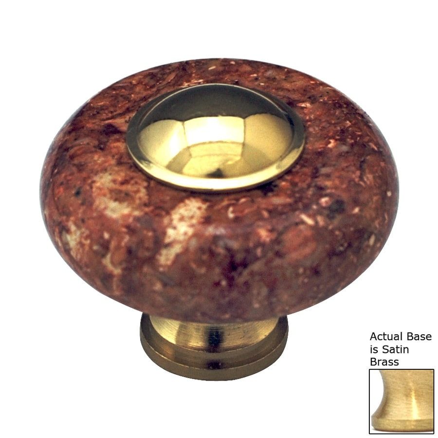 Cal Crystal Satin Brass Marble Round Cabinet Knob
