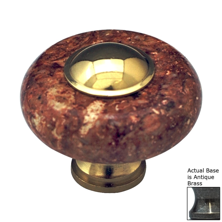 Cal Crystal Red Marble Antique Brass Round Cabinet Knob