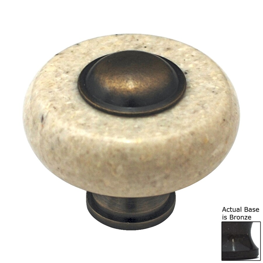 Cal Crystal Beige Marble Bronze Round Cabinet Knob