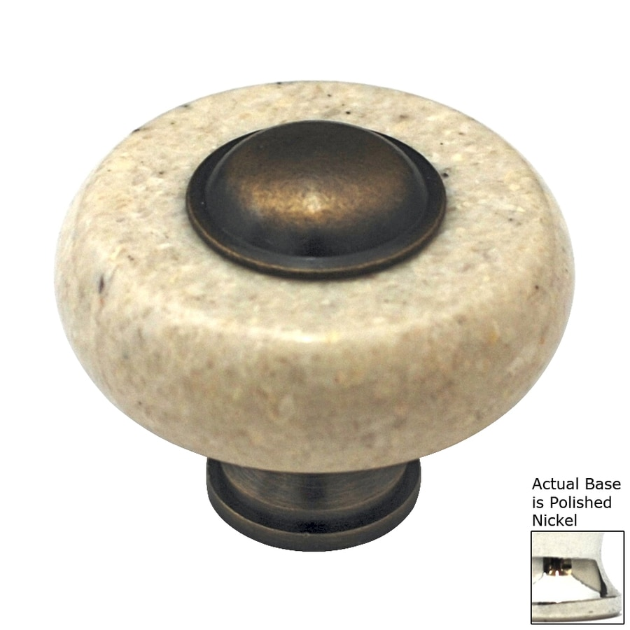 Cal Crystal Beige Marble Polished Nickel Round Cabinet Knob