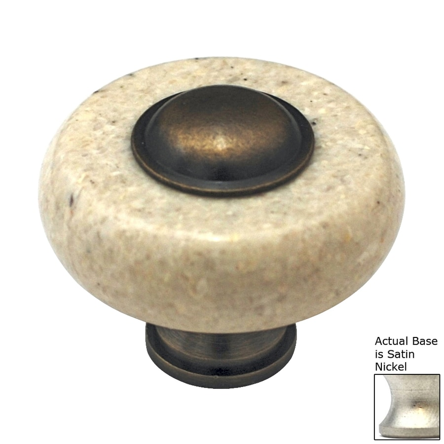 Cal Crystal Beige Marble Satin Nickel Round Cabinet Knob