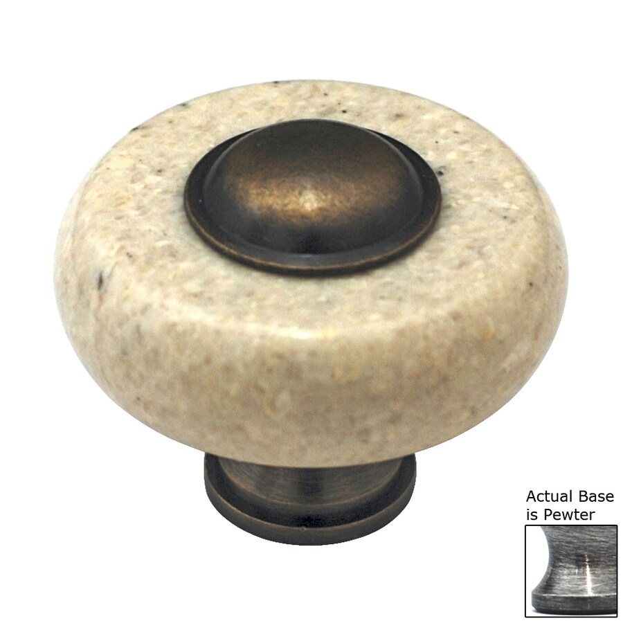 Cal Crystal Beige Marble Pewter Round Cabinet Knob