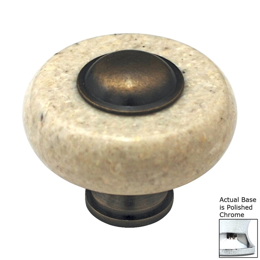 Cal Crystal Beige Marble Polished Chrome Round Cabinet Knob