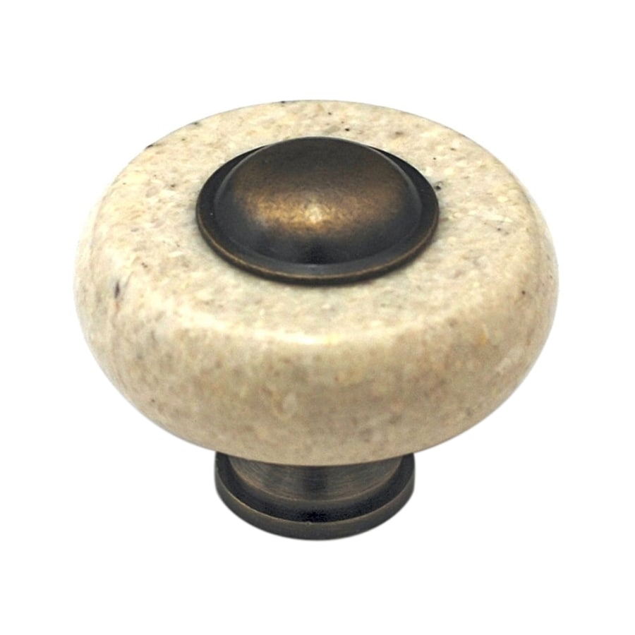 Cal Crystal Beige Marble Antique Brass Round Cabinet Knob