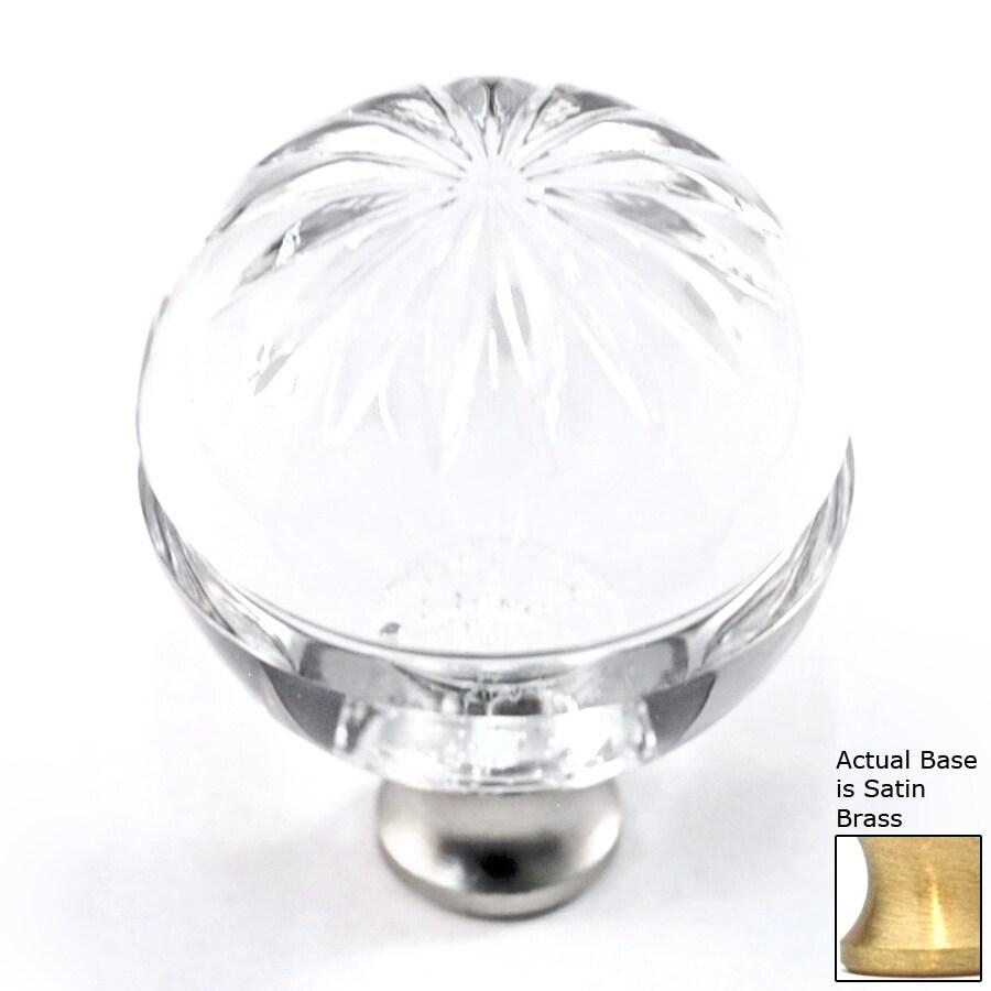 Cal Crystal Crystal Satin Brass Globe Cabinet Knob