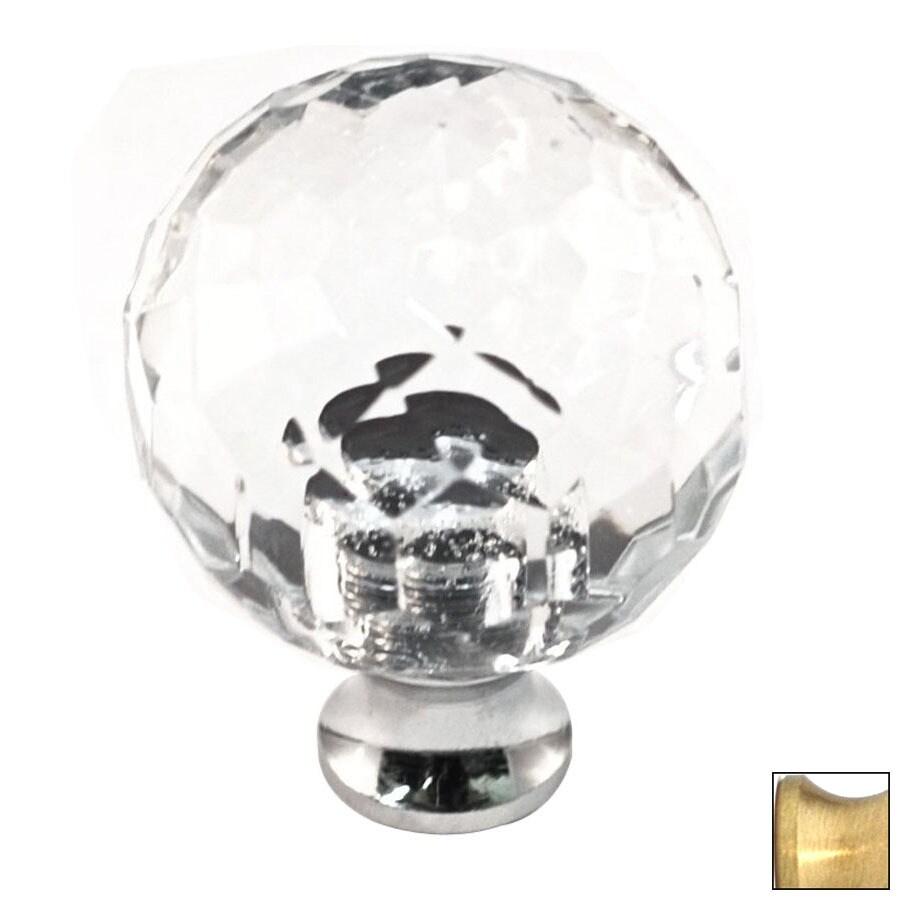 Cal Crystal Satin Brass Crystal Globe Cabinet Knob
