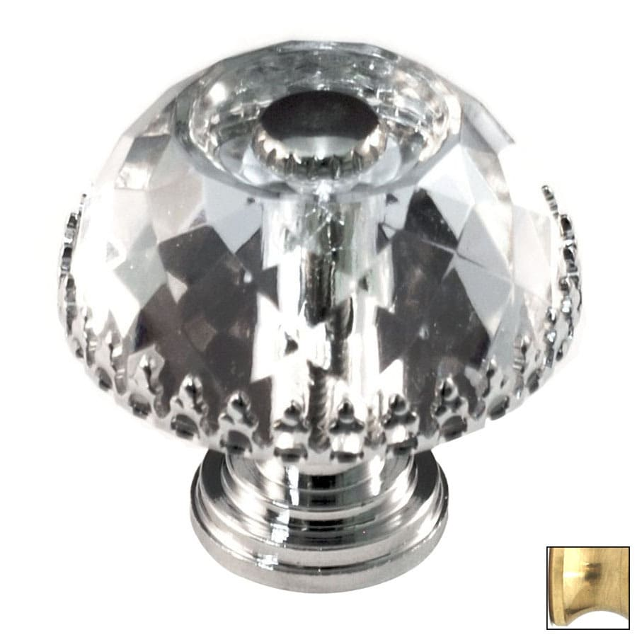 Cal Crystal Polished Brass Crystal Mushroom Cabinet Knob