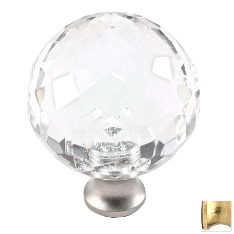 Cal Crystal Polished Brass Crystal Globe Cabinet Knob