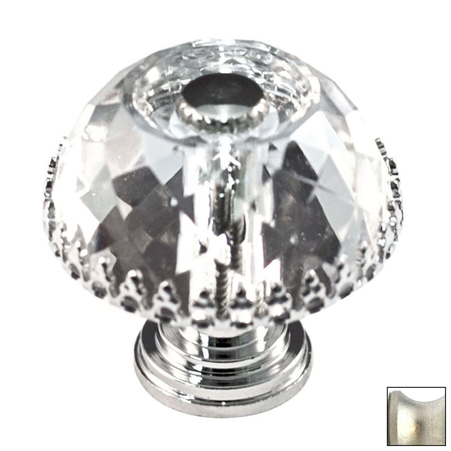 Cal Crystal Satin Nickel Crystal Mushroom Cabinet Knob