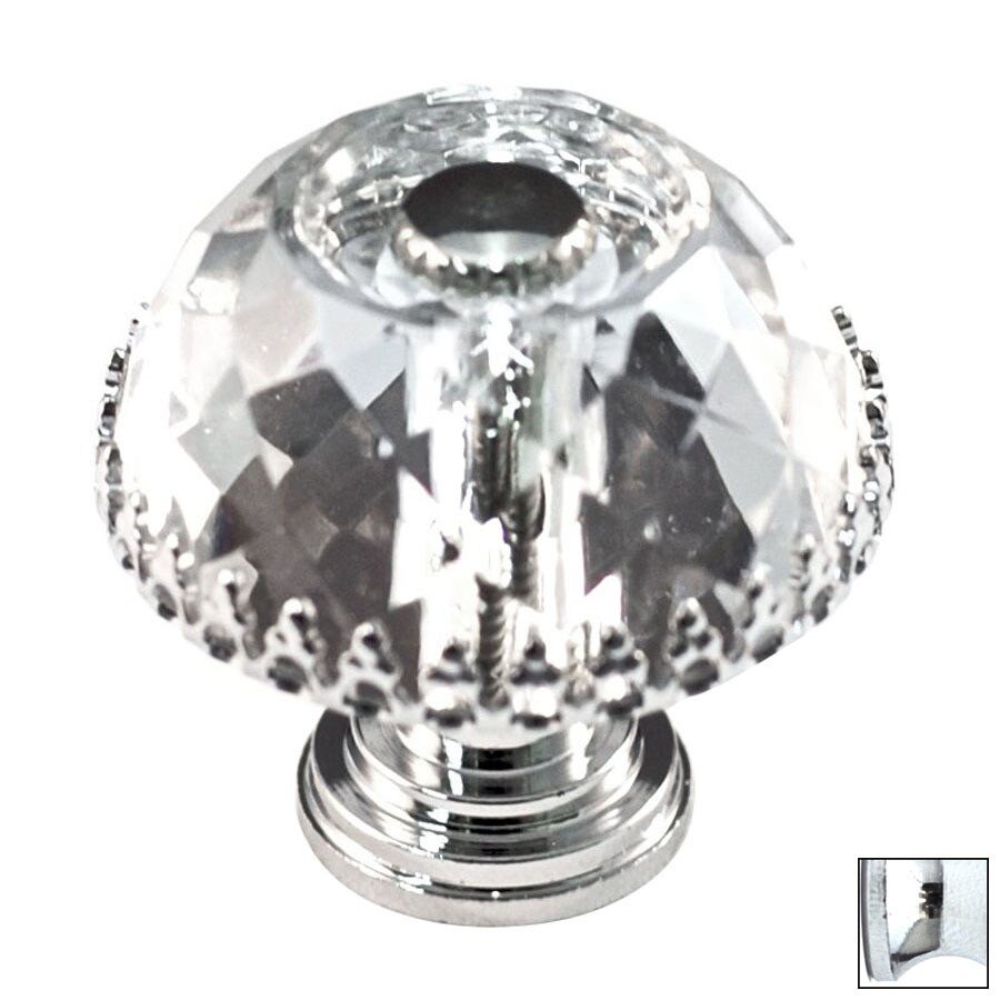 Cal Crystal Polished Chrome Crystal Mushroom Cabinet Knob