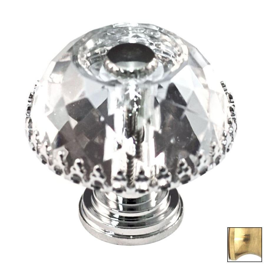 Cal Crystal Polished Brass Crystal Mushroom Cabinet Knob