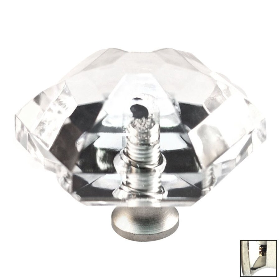 Cal Crystal Polished Nickel Crystal Cabinet Knob