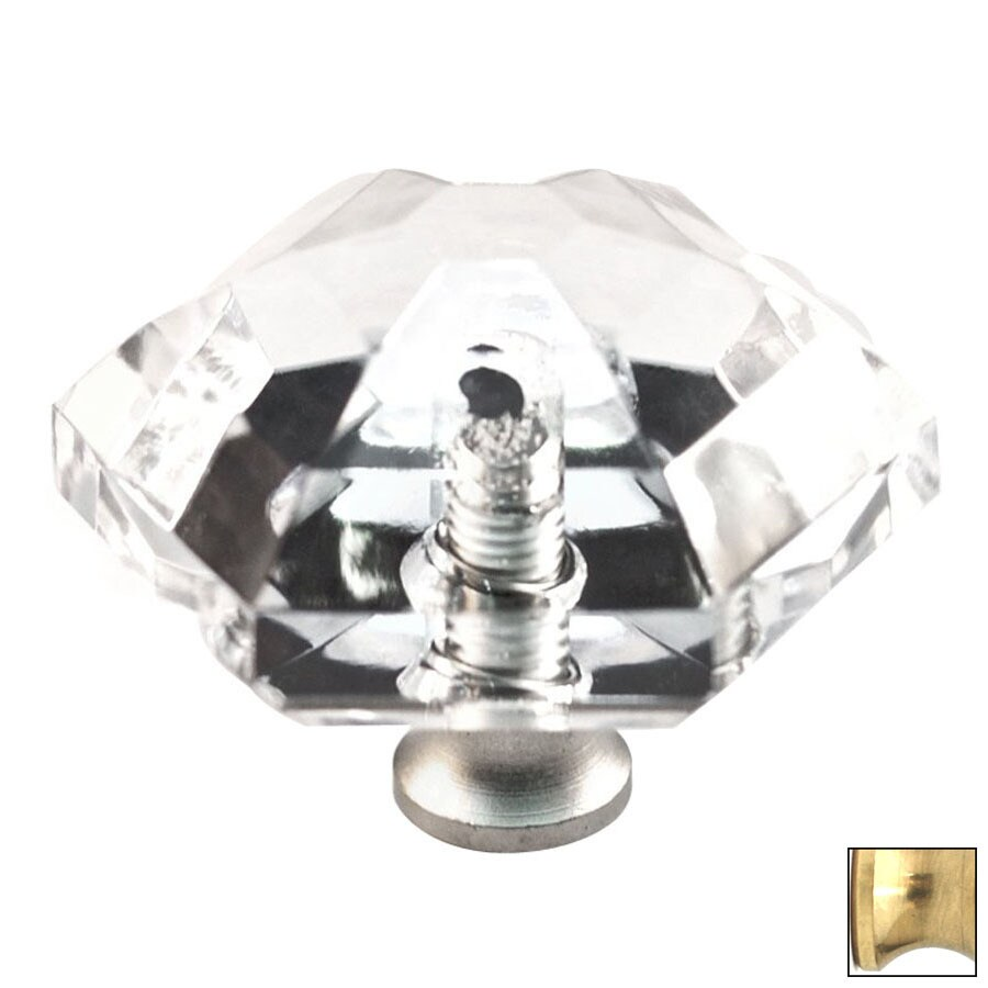 Cal Crystal Polished Brass Crystal Cabinet Knob