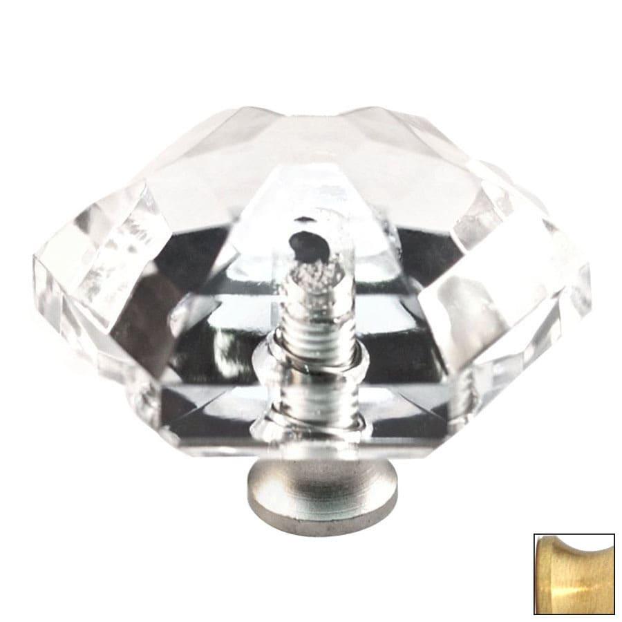 Cal Crystal Satin Brass Crystal Cabinet Knob