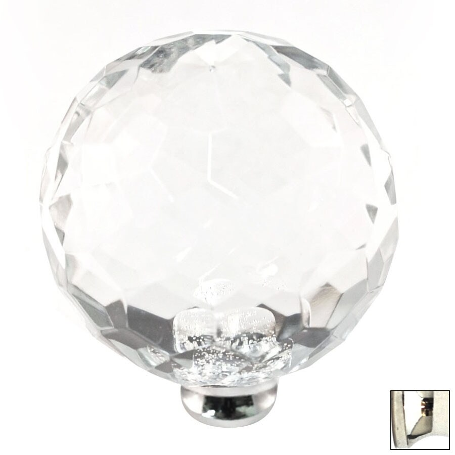 Cal Crystal Polished Nickel Crystal Globe Cabinet Knob
