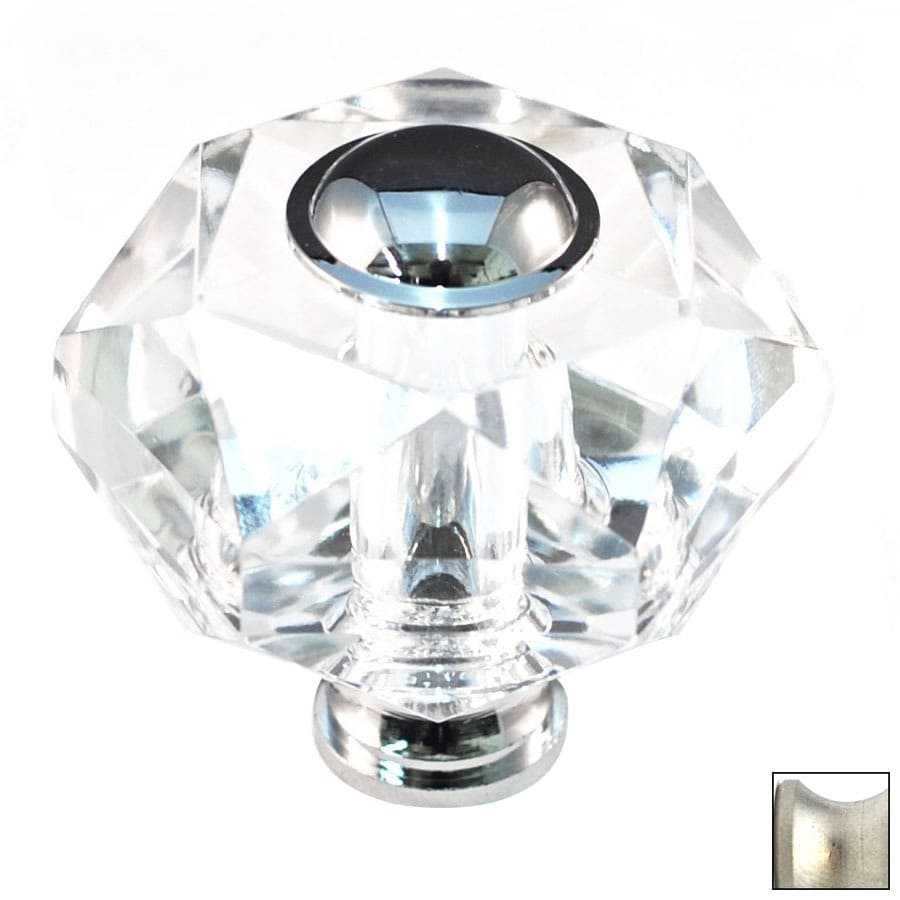 Cal Crystal Satin Nickel Crystal Novelty Cabinet Knob
