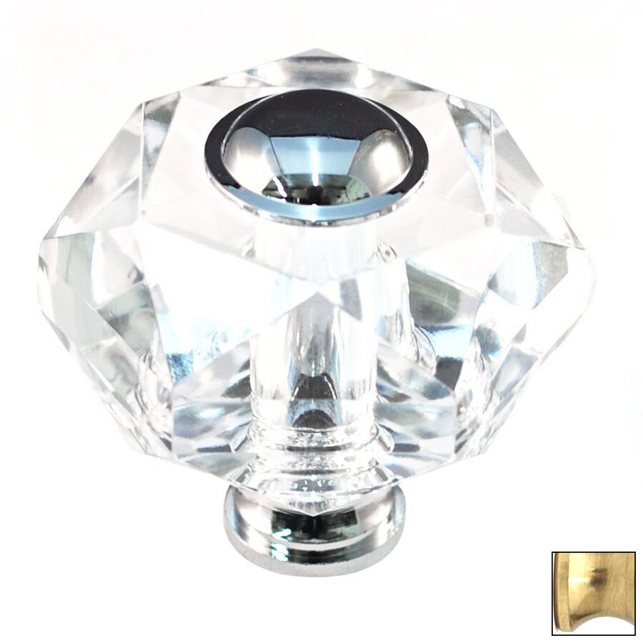Cal Crystal Polished Brass Crystal Novelty Cabinet Knob