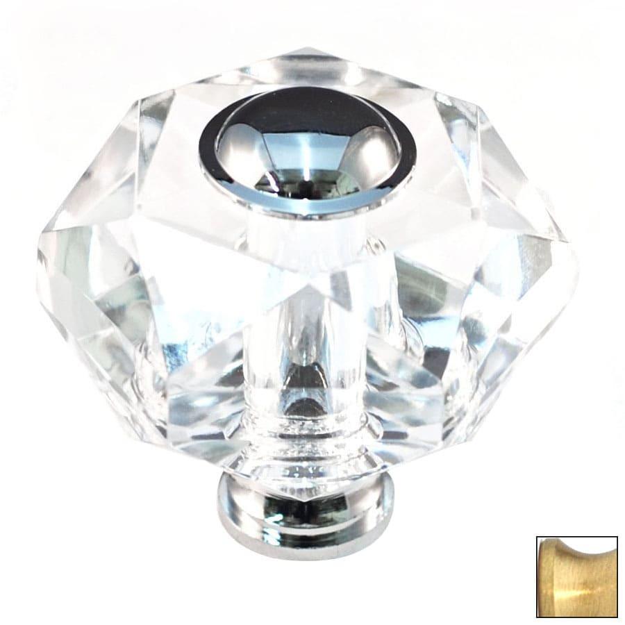 Cal Crystal Satin Brass Crystal Novelty Cabinet Knob