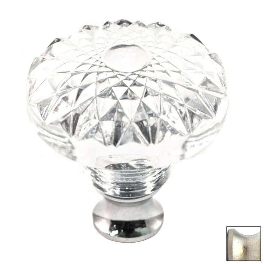 Cal Crystal Satin Nickel Crystal Round Cabinet Knob