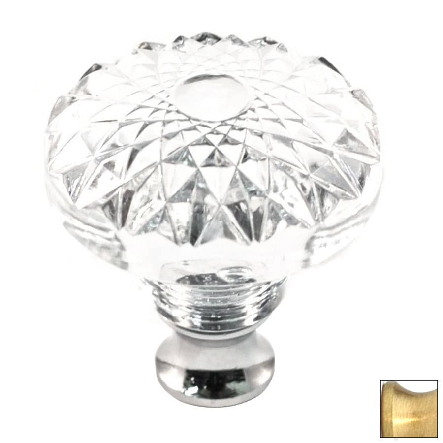 Cal Crystal Satin Brass Crystal Round Cabinet Knob