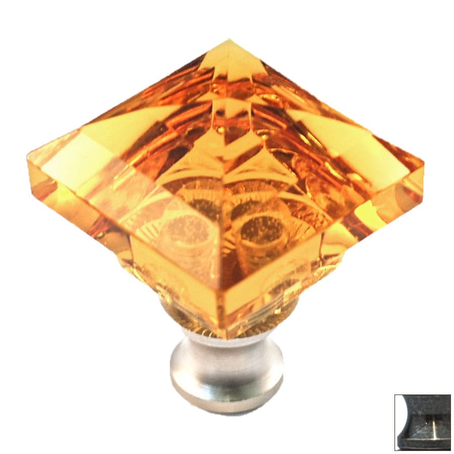 Cal Crystal Antique Brass Crystal Square Cabinet Knob