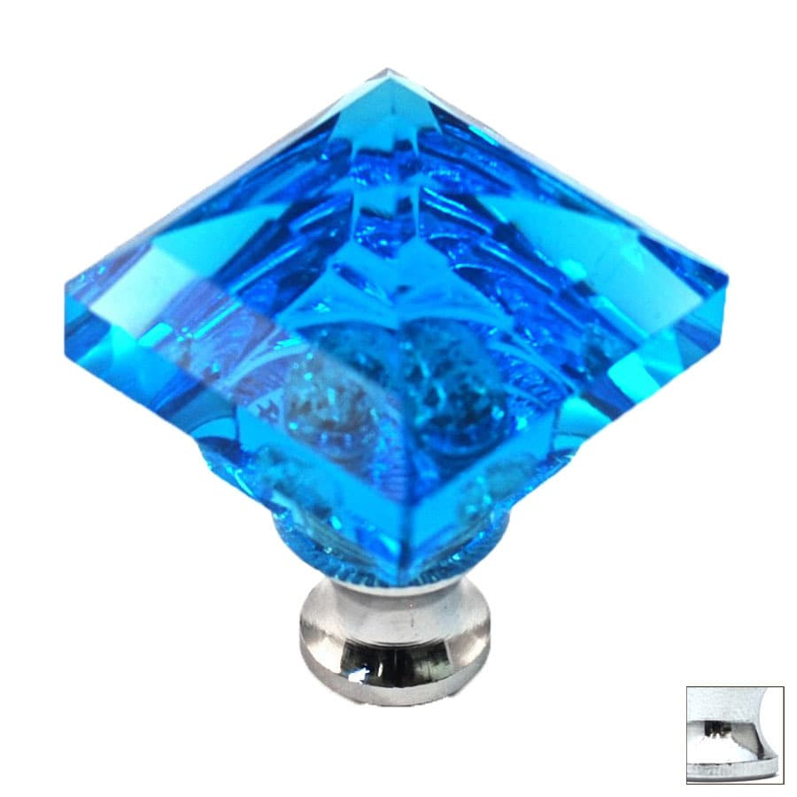 Cal Crystal Polished Chrome Crystal Square Cabinet Knob