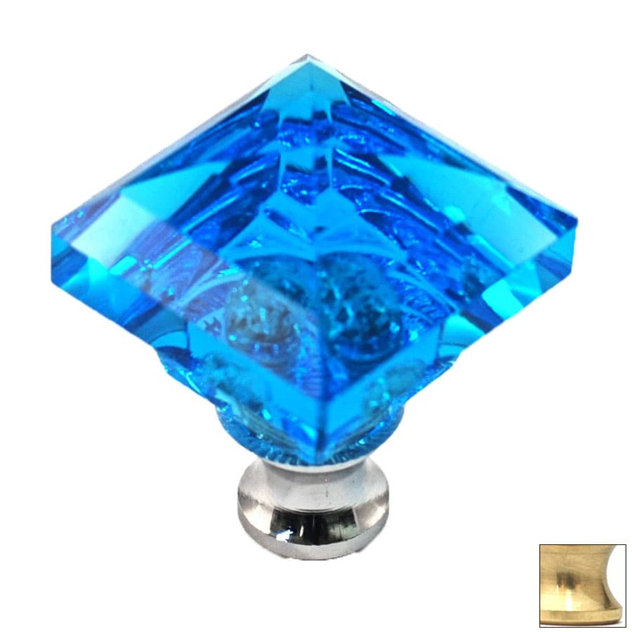 Cal Crystal Polished Brass Crystal Square Cabinet Knob