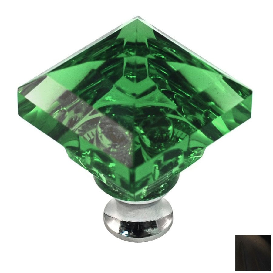 Cal Crystal Oil-Rubbed Bronze Crystal Square Cabinet Knob